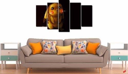 Quadro Decorativo Desenho Pikachu 5 Peças