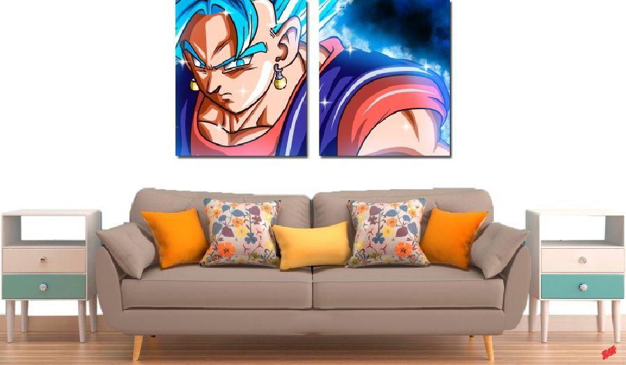 Quadro Decorativo Dragon Ball Goku Super Sayajin 2 Peça M23
