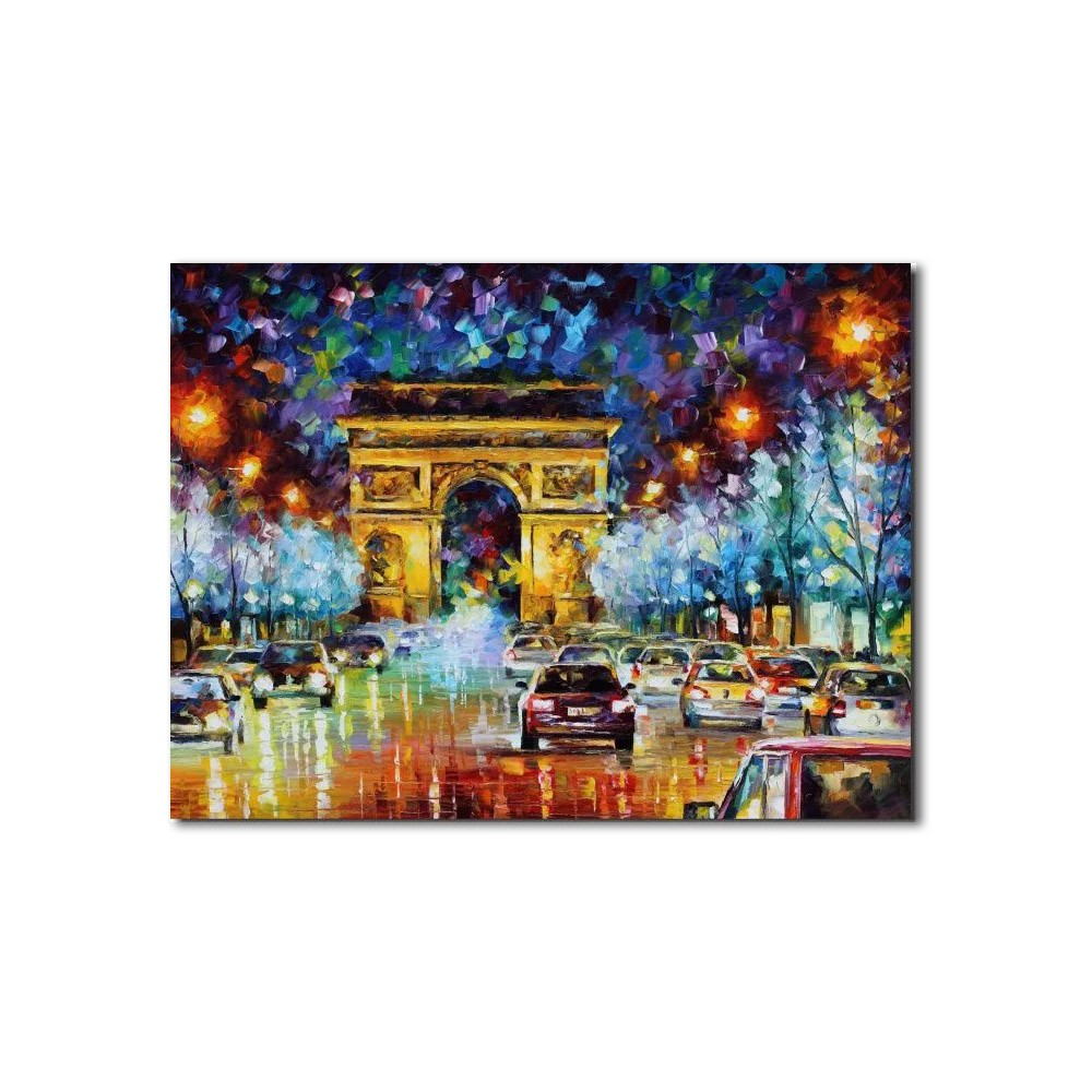 Quadro Decorativo Espatulado Carros Arco Do Triunfo Paris