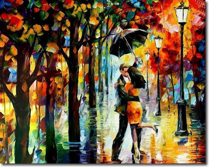 Quadro Decorativo Espatulado Casal Beijando Na Chuva