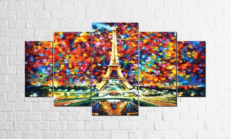 Quadro Decorativo Espatulado Paris 5 peças 1,00X1,90