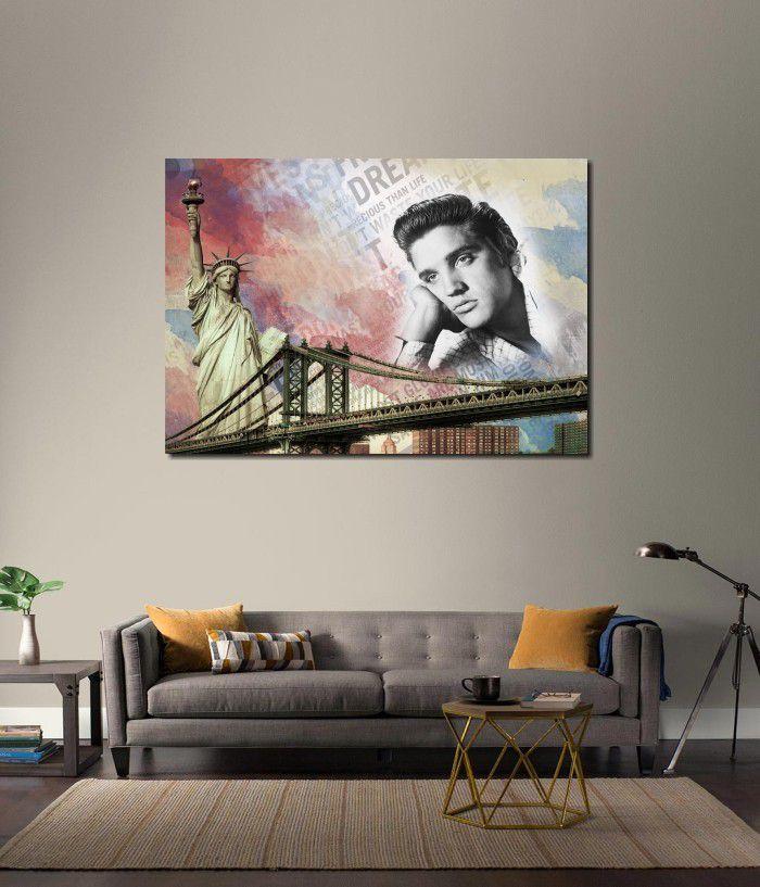 Quadro Decorativo Elvis Presley Estilo montagem modelo Vintage 1 peça