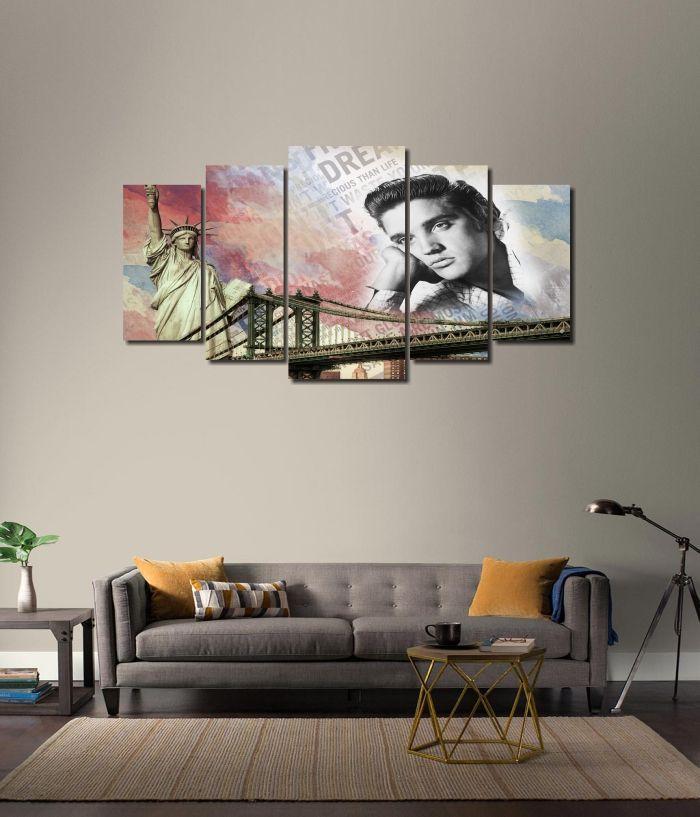 Quadro Decorativo Elvis Presley estilo montagem modelo Vintage 5 peças
