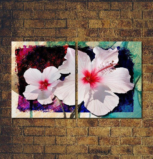Quadro Decorativo Flor Branca para sala 2 peças