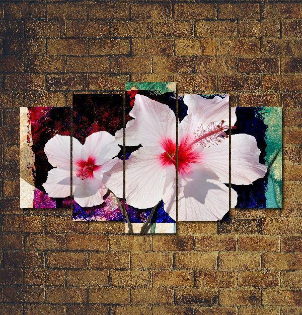 Quadro Decorativo Flor Branca para sala 5 peças