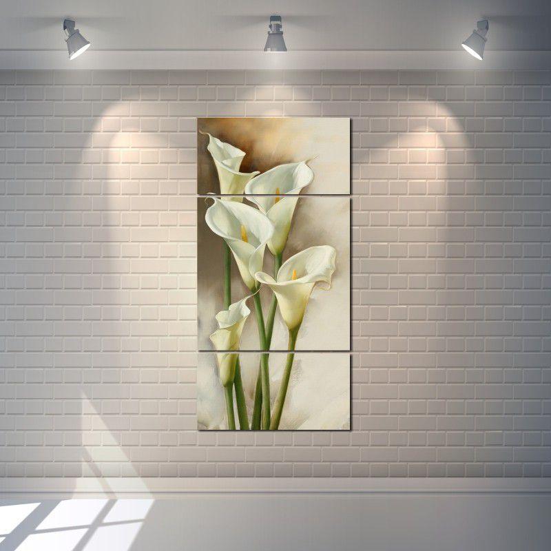 Quadro Decorativo Flor Copo De Leite 3 peças