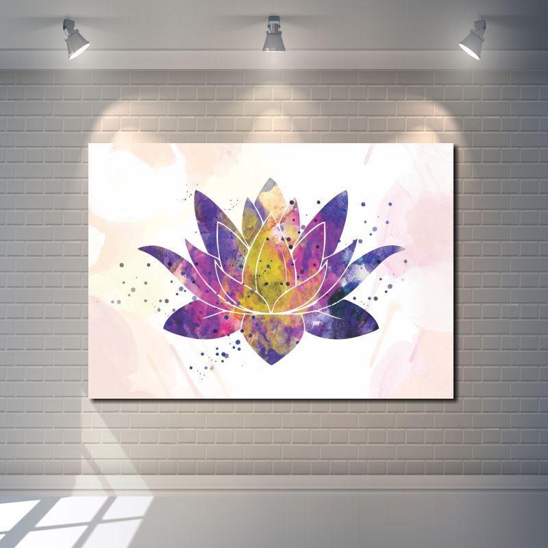 Quadro Decorativo Flor de lotus colorida 1 peça
