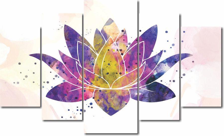 Quadro Decorativo Flor de lotus colorida 5 peças