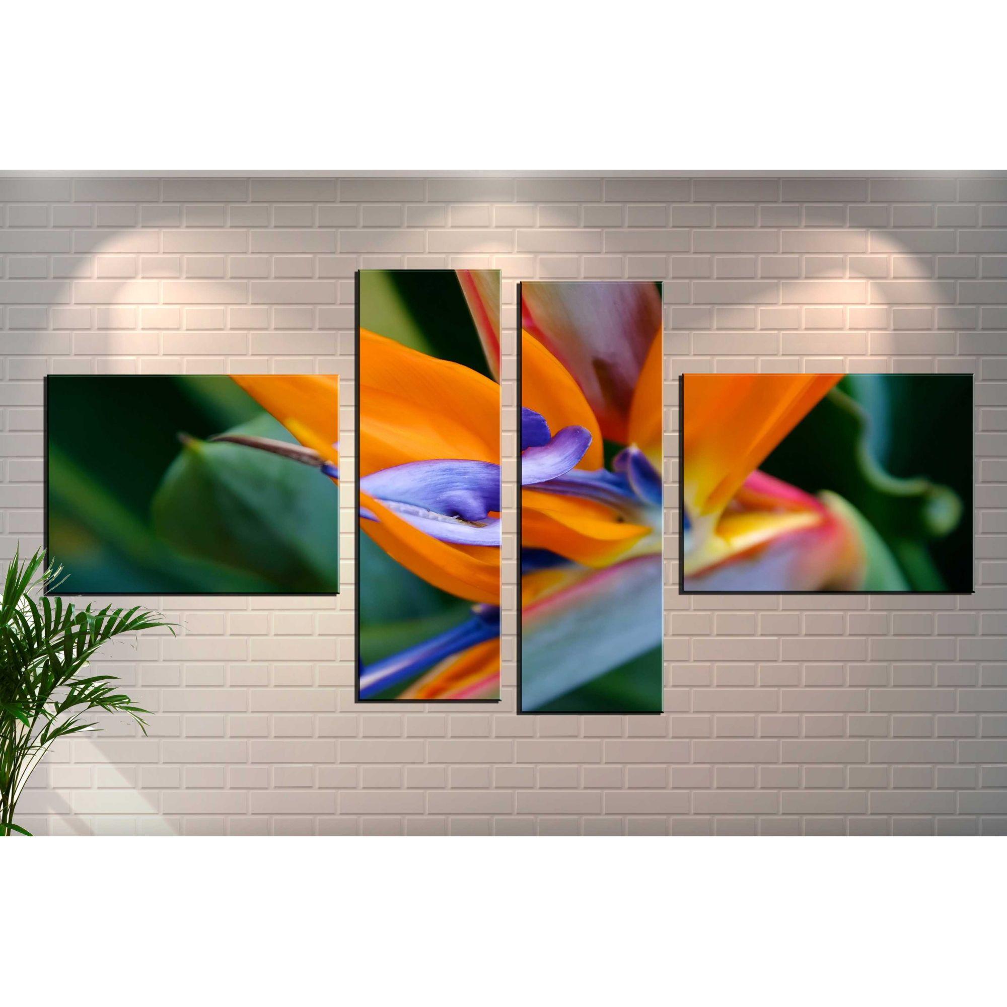 Quadro Decorativo Flor Estrelizia 4 Peças Para Sala E Quarto
