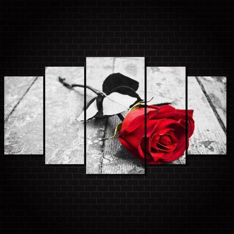 Quadro Decorativo Flor Rosa Vermelha 5 peças