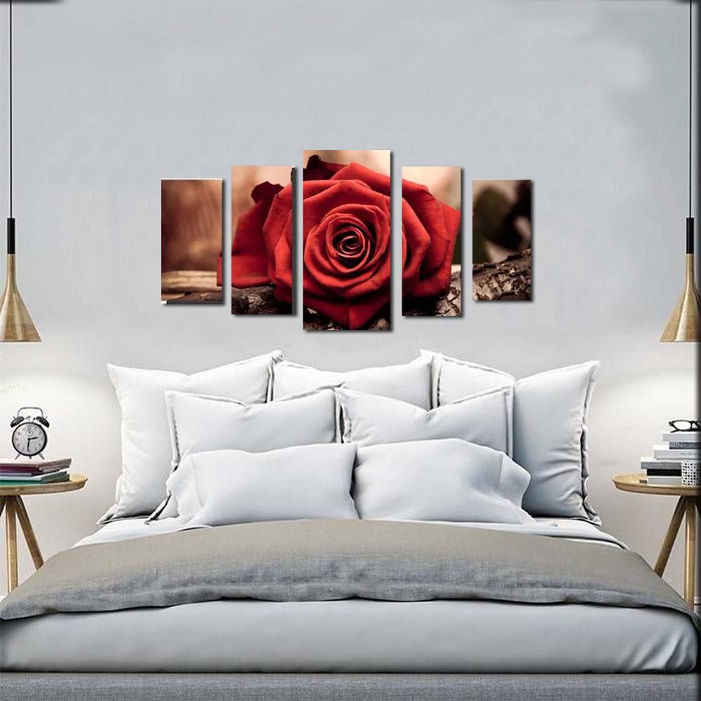 Quadro Decorativo Flor  Rosa Vermelha 5 Peças Para Sala