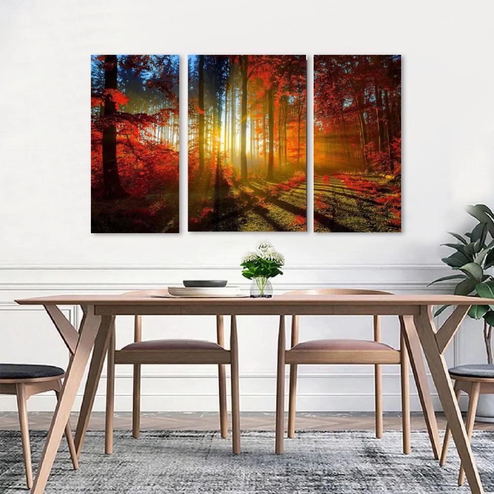 Quadro Decorativo Floresta Laranjada 3 Peças Para Sala