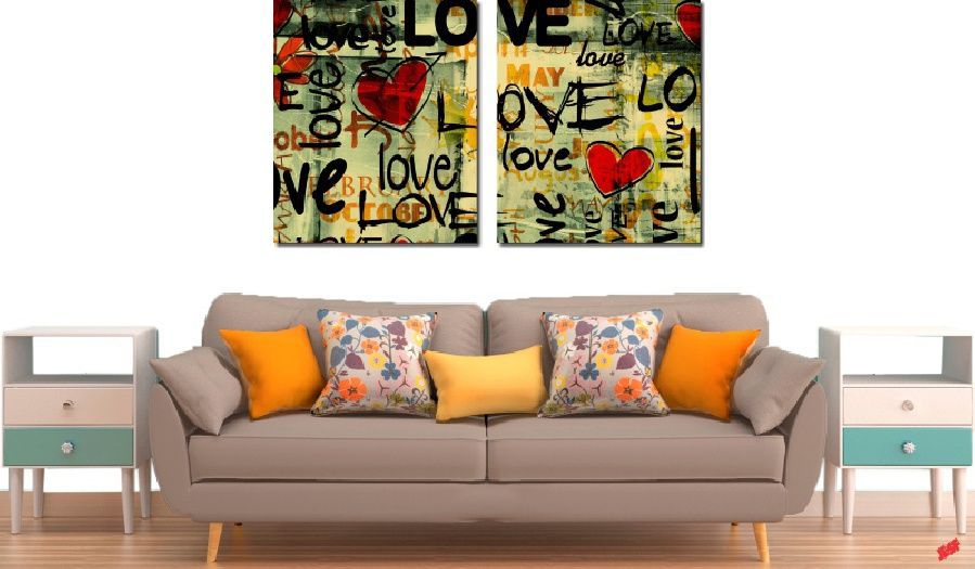 Quadro Decorativo Frases Love 2 Peças