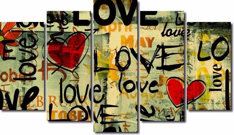 Quadro Decorativo Frases Love 5 Peças