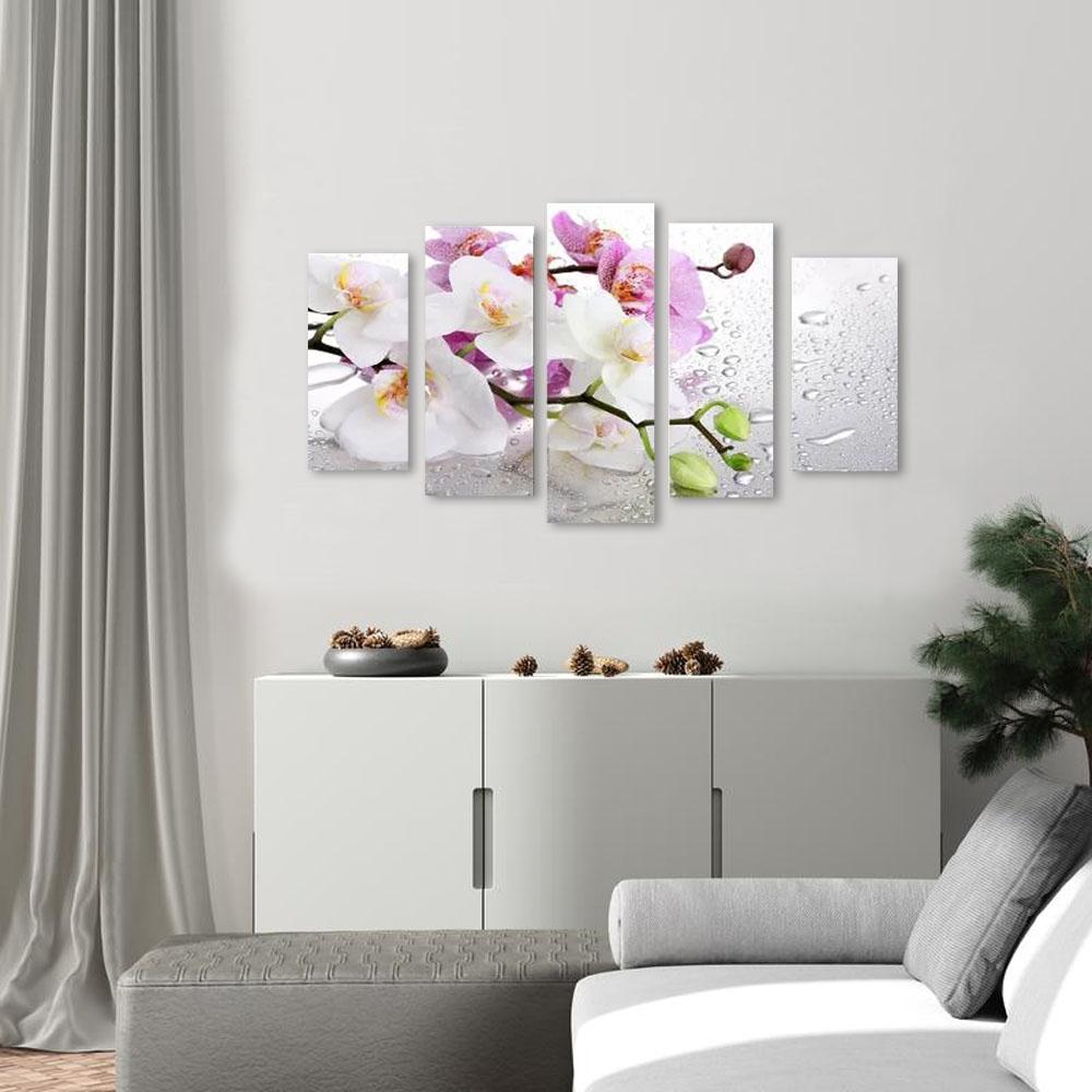 Quadro Decorativo Galho De Orquídea 5 Peças Para Sala