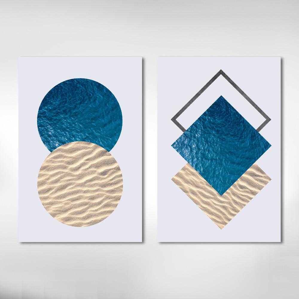 Quadro Decorativo Geométrico Praia Mar