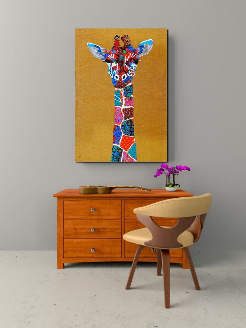 Quadro Decorativo Girafa Colorida 1 peça