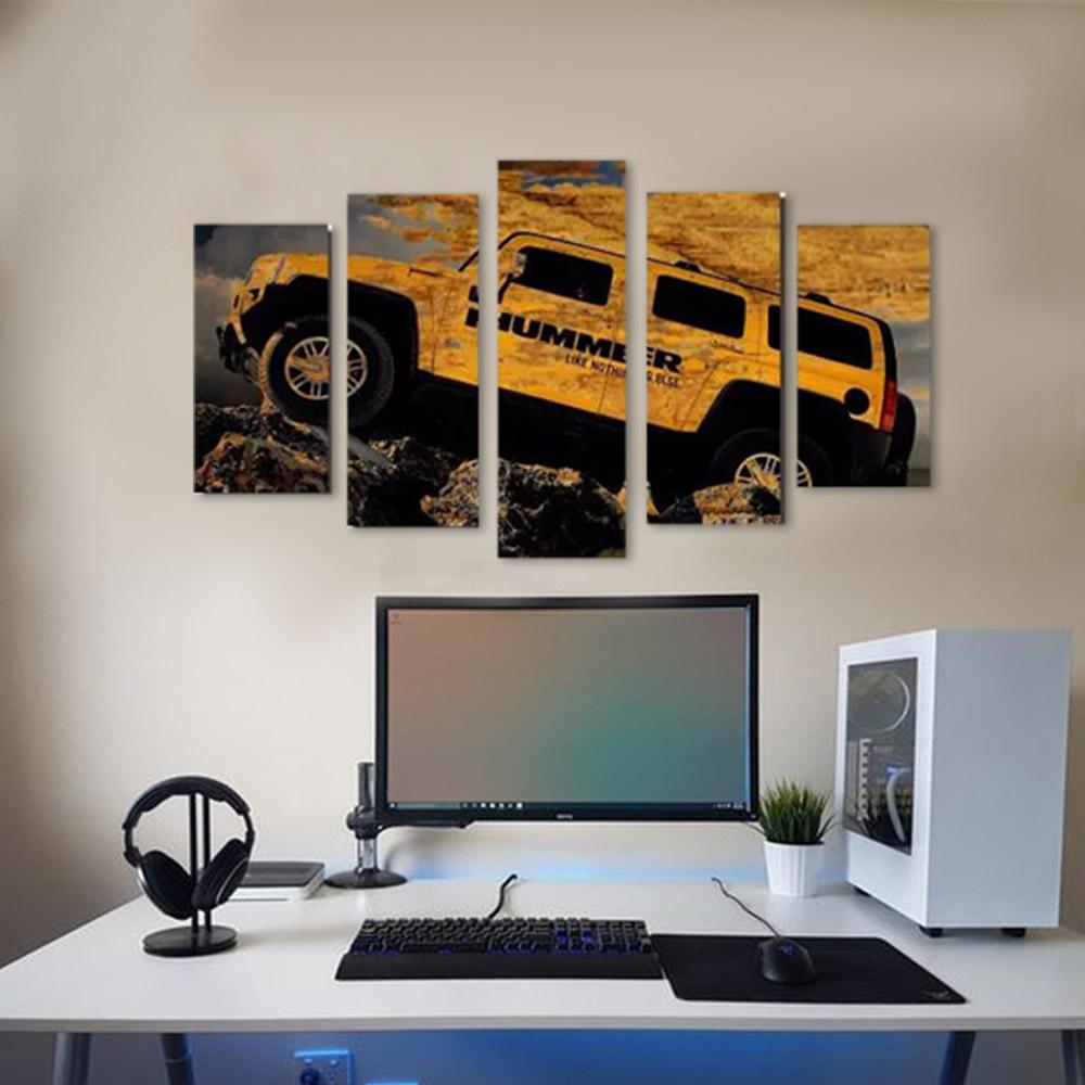 Quadro Decorativo Hummer Amarela 5 Peças Para Sala Ou Quarto