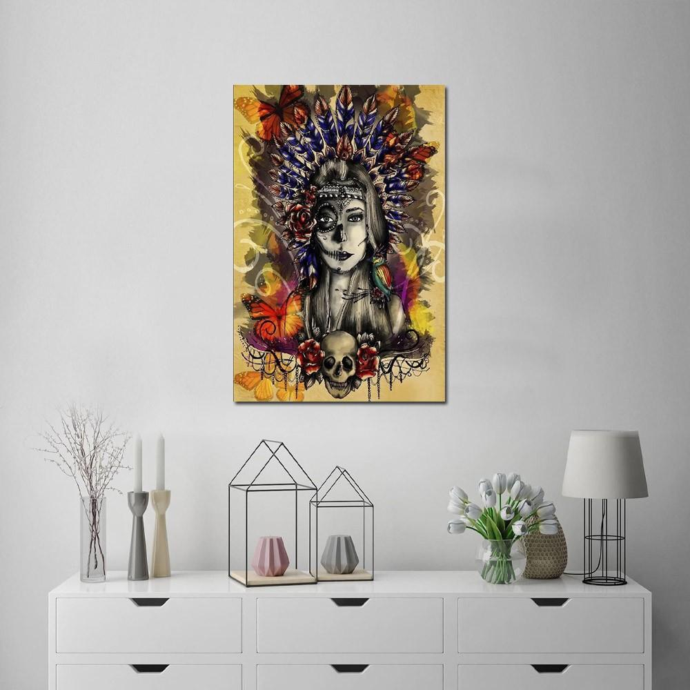 Quadro Decorativo Índia Colorida Para Sala E Quarto 1 Peça