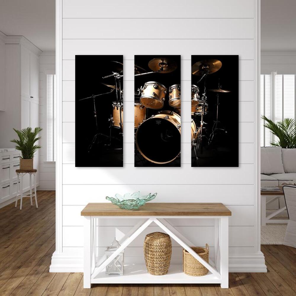 Quadro Decorativo Instrumento Bateria  3 Peças Para Sala