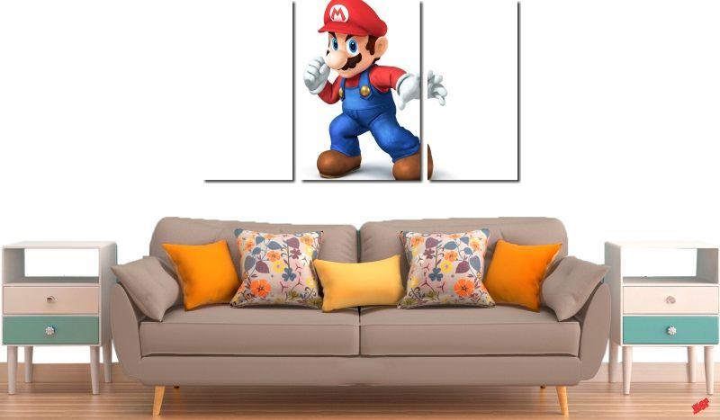 Quadro Decorativo Jogo Super Mario 3 Peças M3