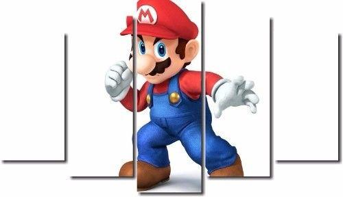 Quadro Decorativo Jogo Super Mario 5 Peças M3