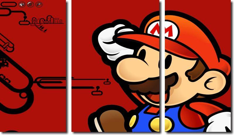 Quadro Decorativo Jogo Super Mario Fundo Vermelho 3 Peças