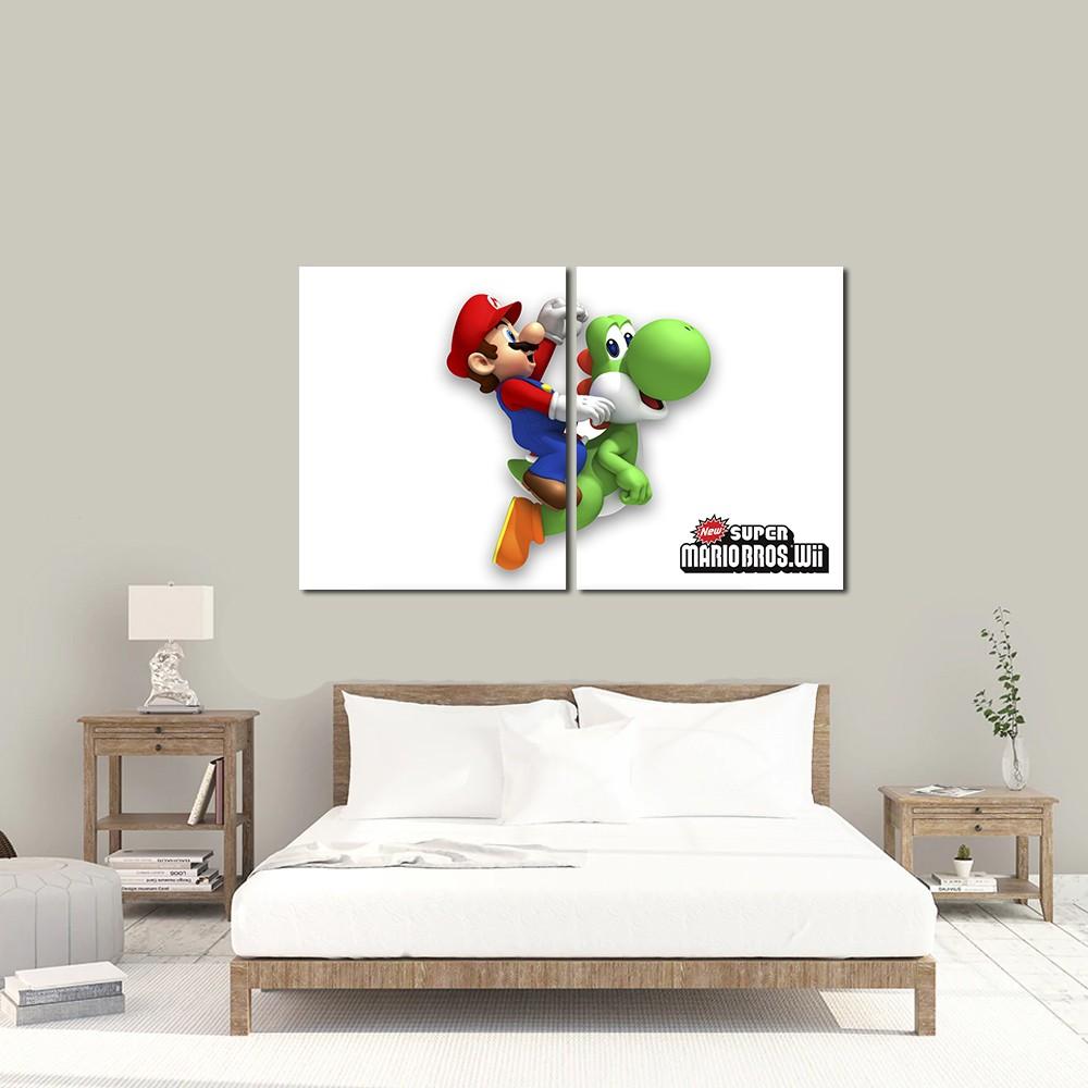 Quadro Decorativo Jogo Super Mario Yoshi 2 Peças M2