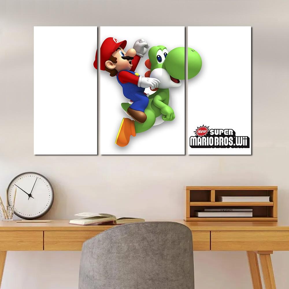 Quadro Decorativo Jogo Super Mario Yoshi 3 Peças M2