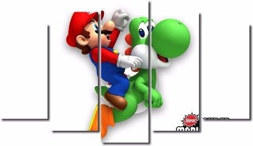 Quadro Decorativo Jogo Super Mario Yoshi 5 Peças M2