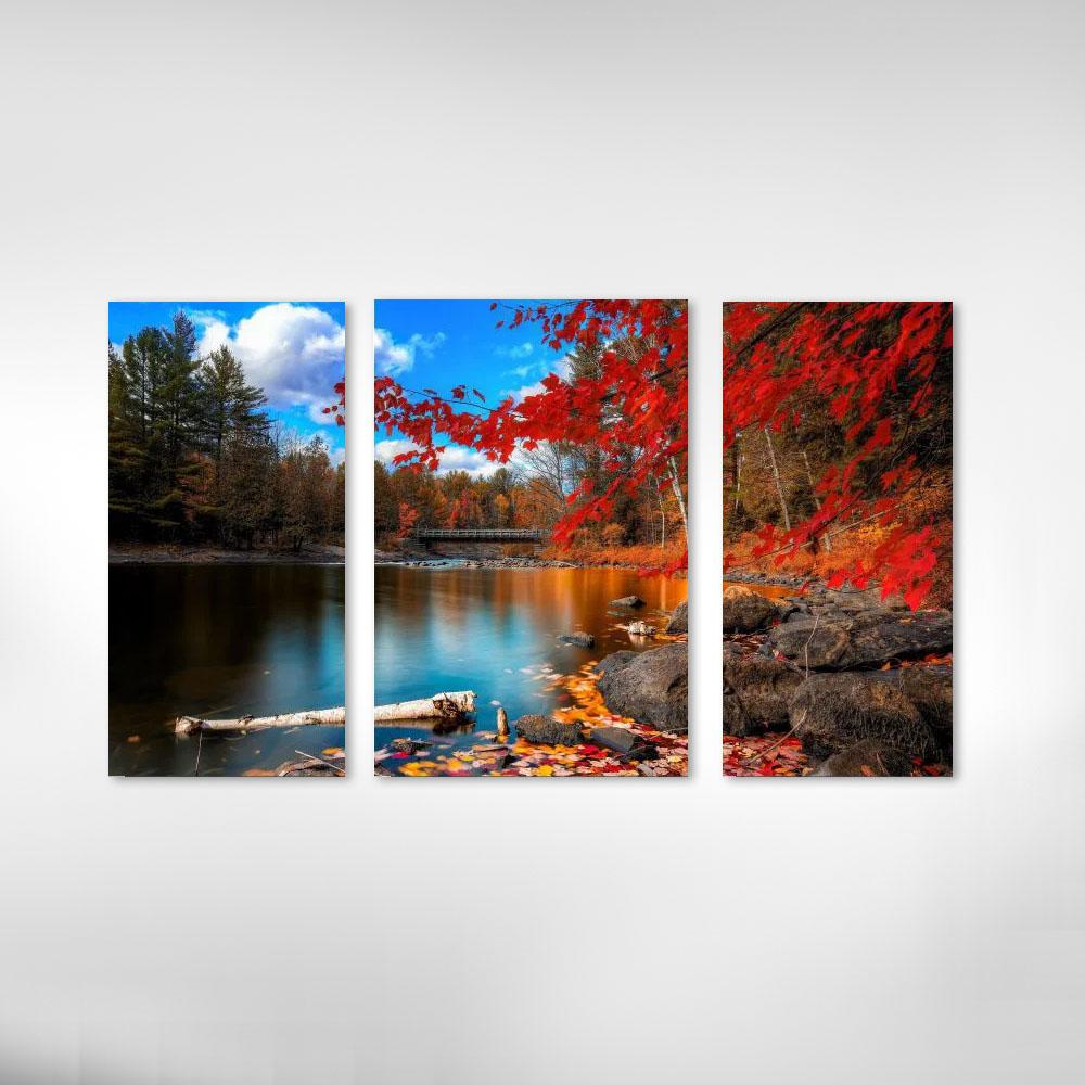 Quadro Decorativo Lago com Arvore Vermelha  3 Peças