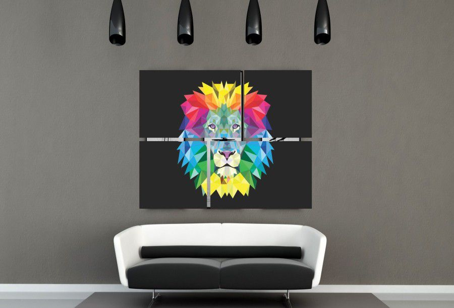 Quadro Decorativo Leão Geométrico colorido 4 peças