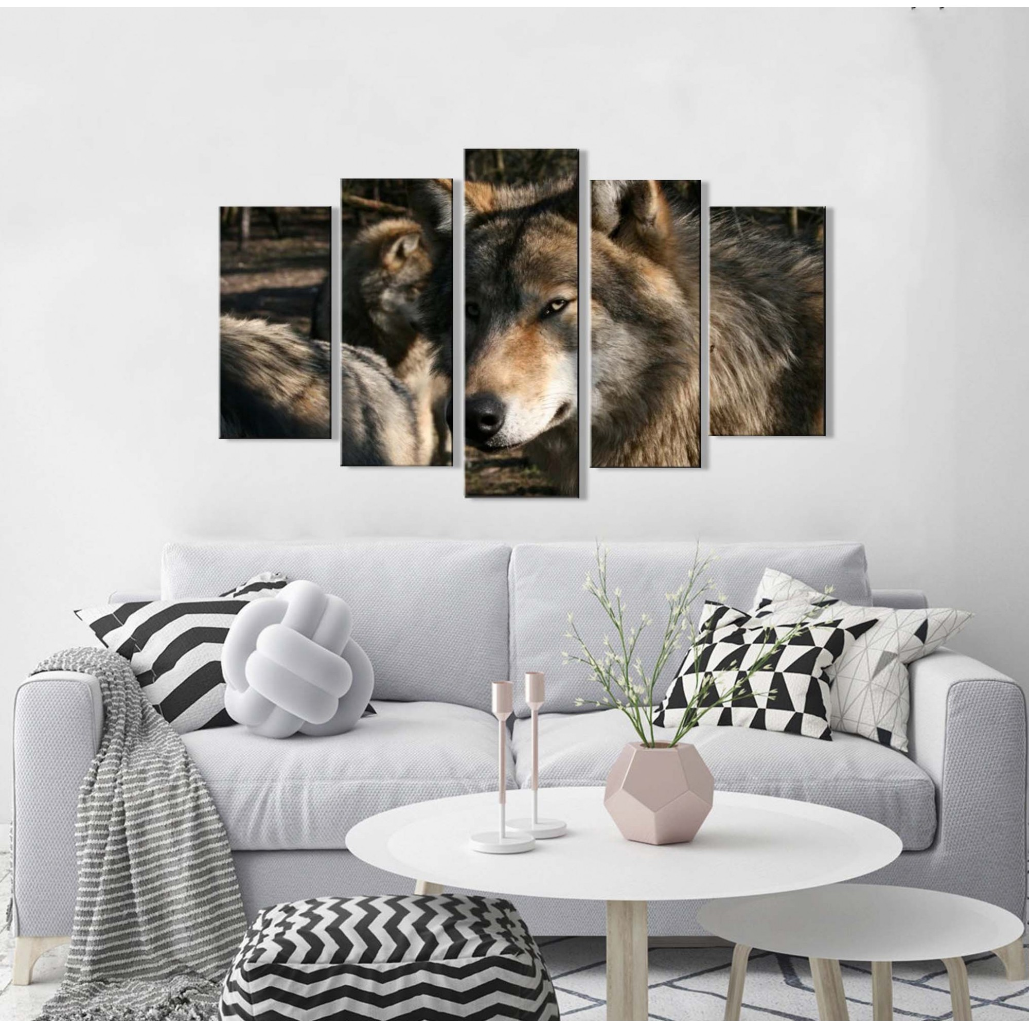 Quadro Decorativo Lobo 5 peças