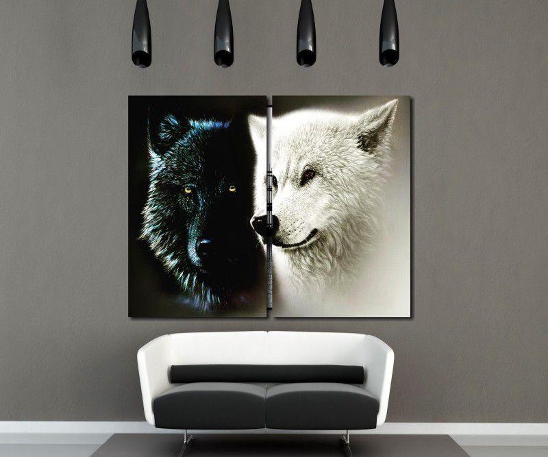 Quadro Decorativo Lobos Preto e Branco 2 peças