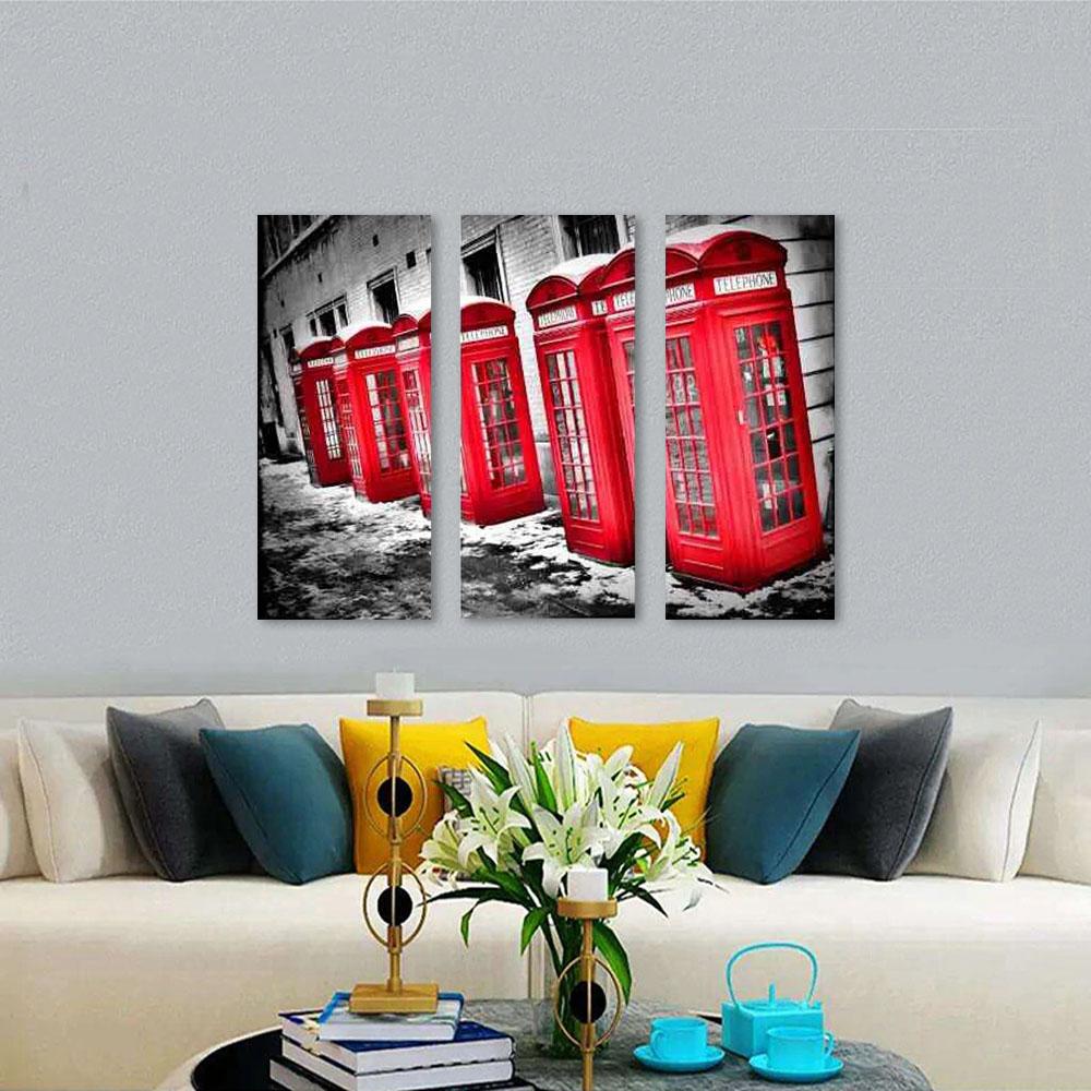 Quadro Decorativo Londres Telefones Vermelho 3 Peças sala