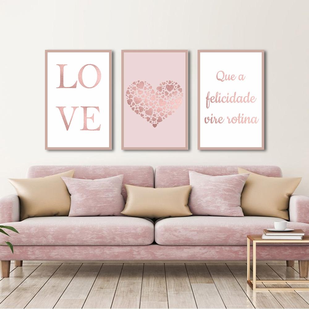 Quadro Decorativo love Rose Gold