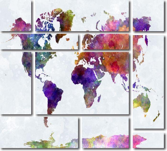 Quadro Decorativo Mapa Colorido Moderno Varias peças