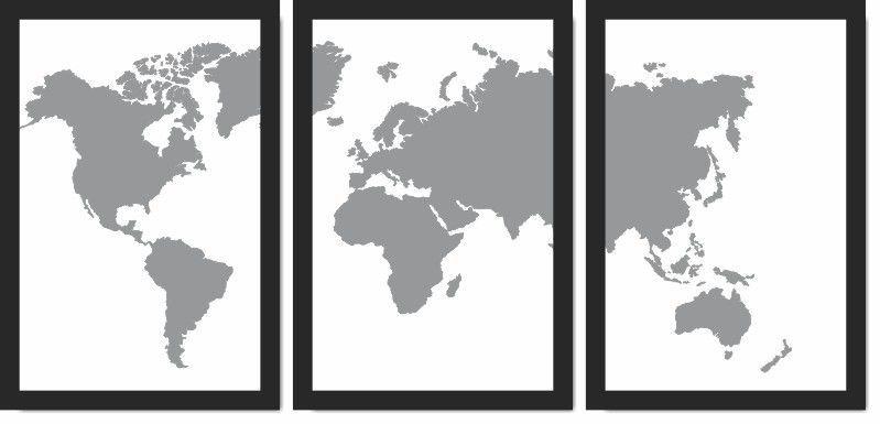 Quadro Decorativo Mapa Preto e branco Moderno