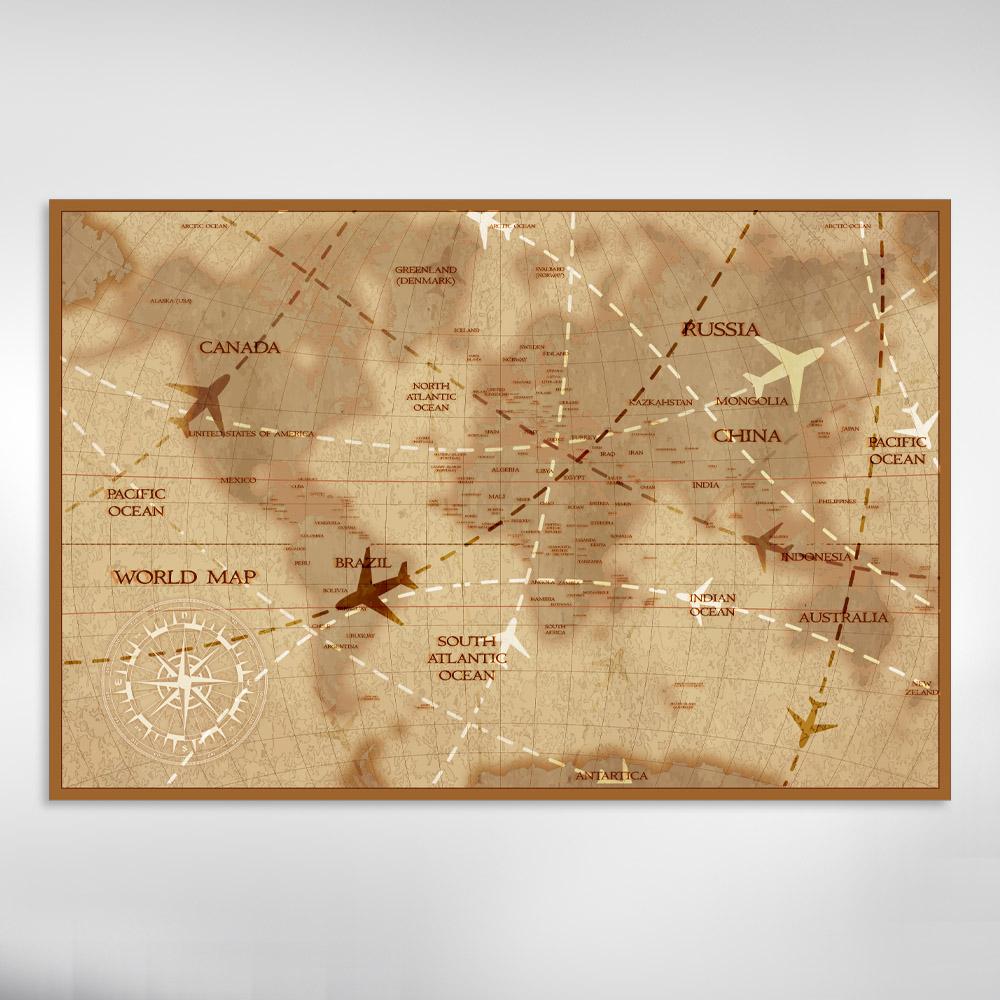 Quadro Decorativo Mapa Vintage