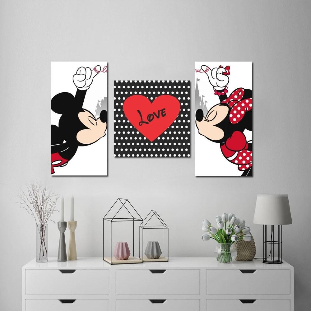Quadro Decorativo Mickey E Minnie 3 Peças