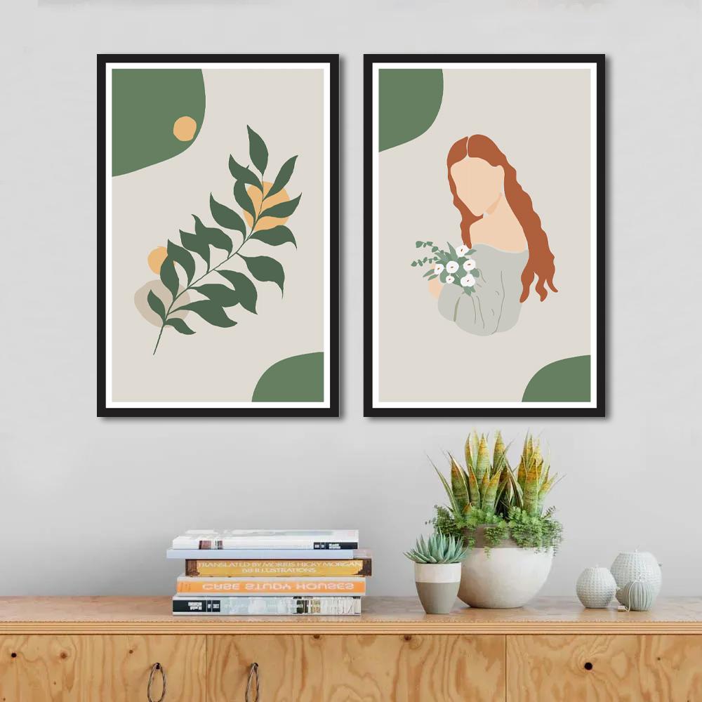 Quadro Decorativo Minimalista Menina Ruiva e Folhas