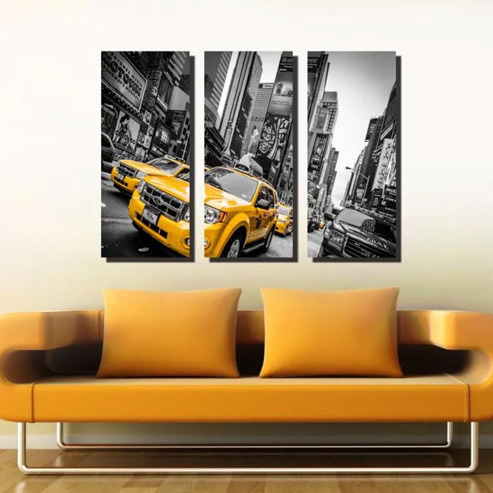 Quadro Decorativo Nova York Amarelo 3 Peças Para Sala