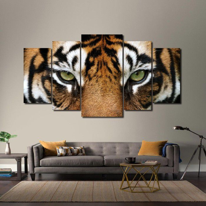 Quadro Decorativo Olhar Tigre 5 peças