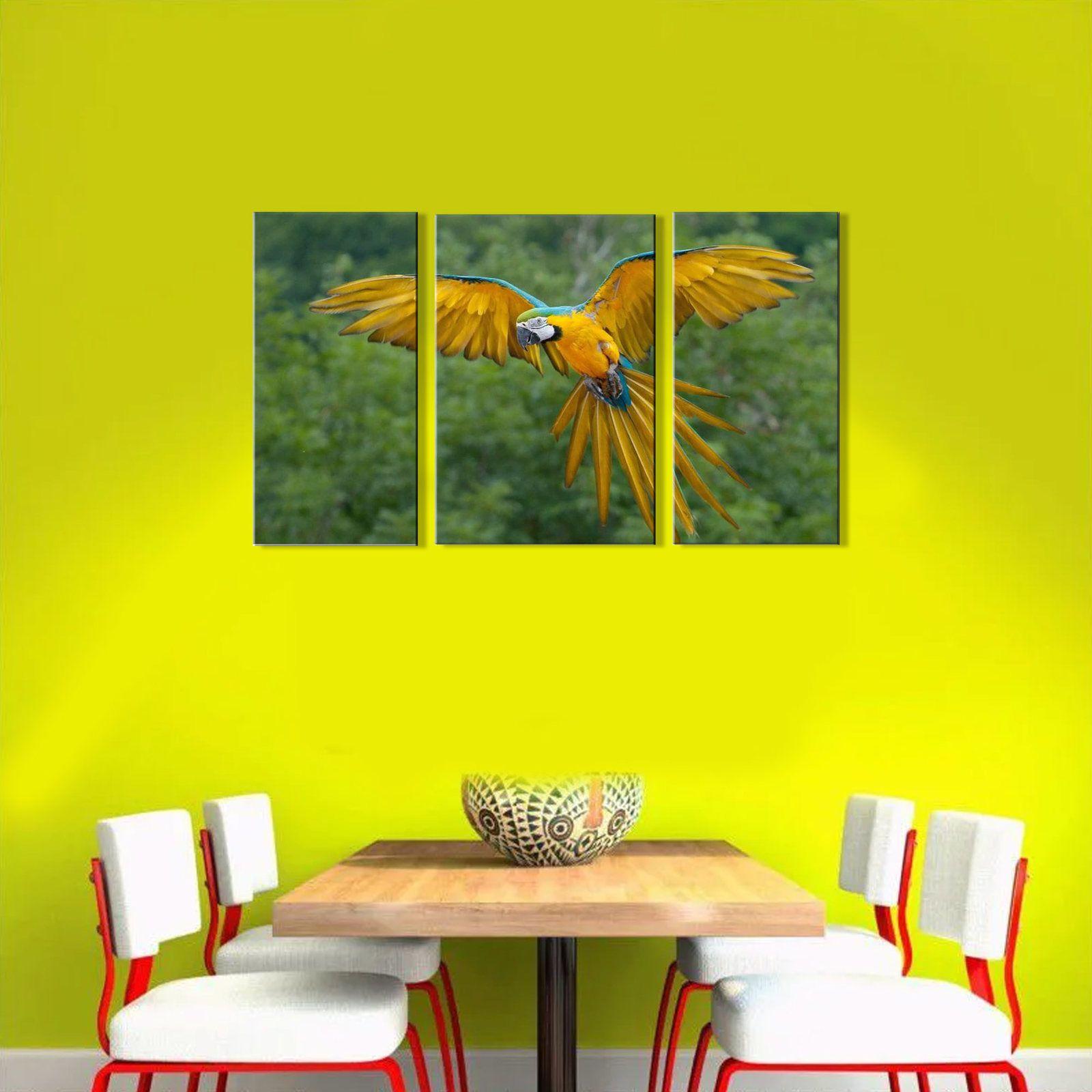 Quadro Decorativo Paisagem Arara amarela 3 peças M2