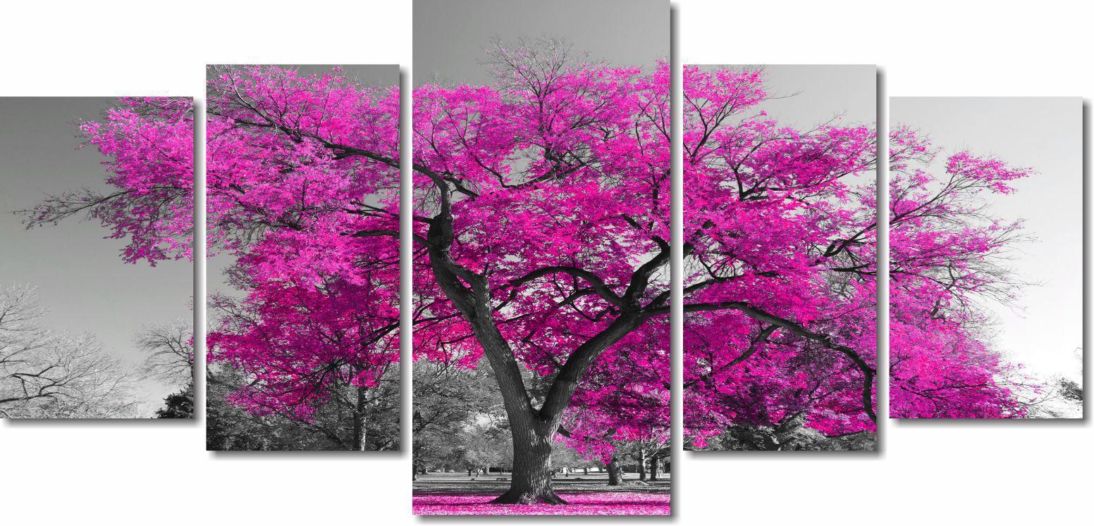 Quadro Decorativo Paisagem Arvore Com Flores Coloridas 5 Peças Para Sala