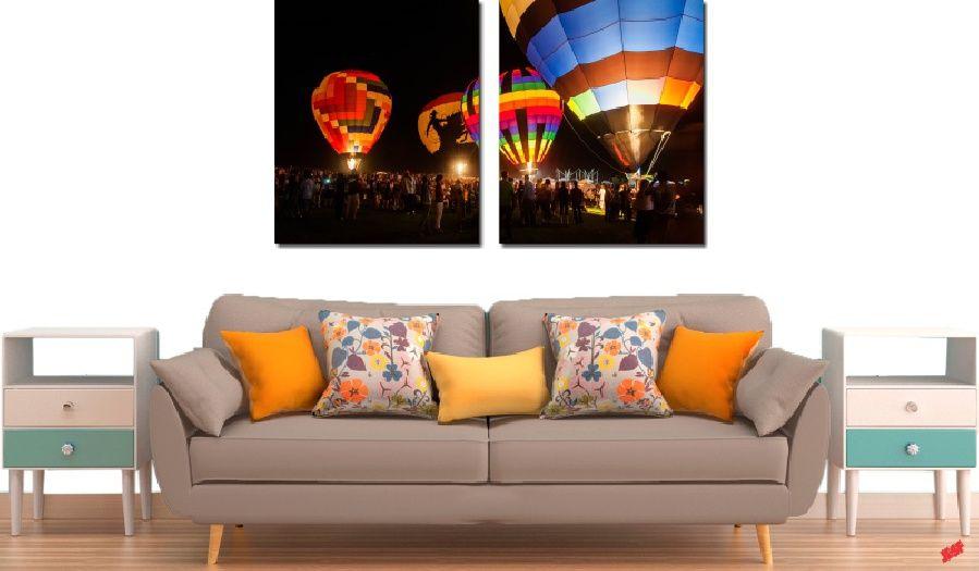 Quadro Decorativo Paisagem Balão 2 Peças