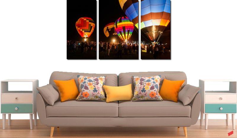 Quadro Decorativo Paisagem Balão 3 Peças