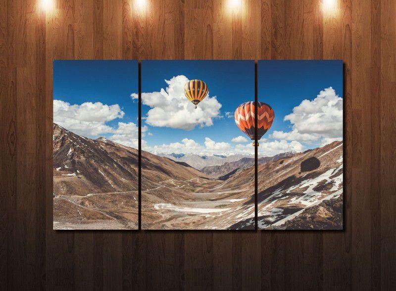 Quadro Decorativo Paisagem Balão com Montanhas 3 peças