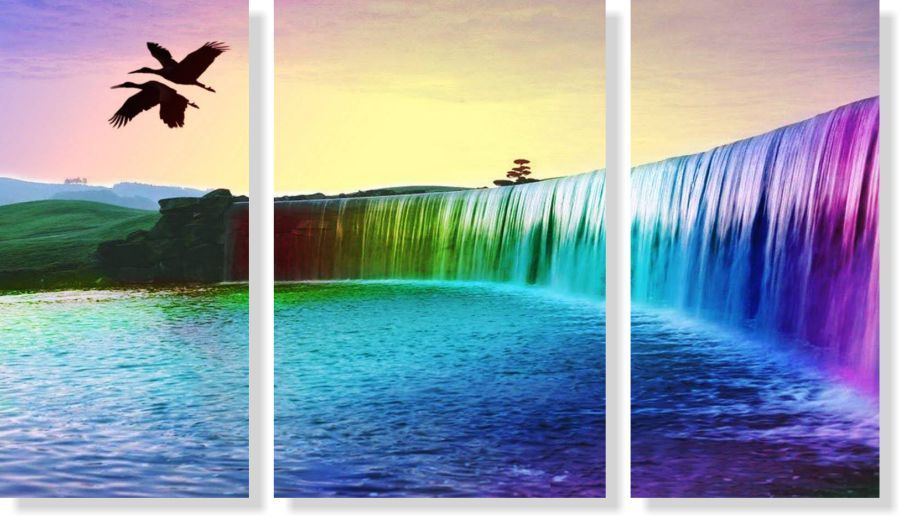 Quadro Decorativo Paisagem Cachoeira colorida 3 peças