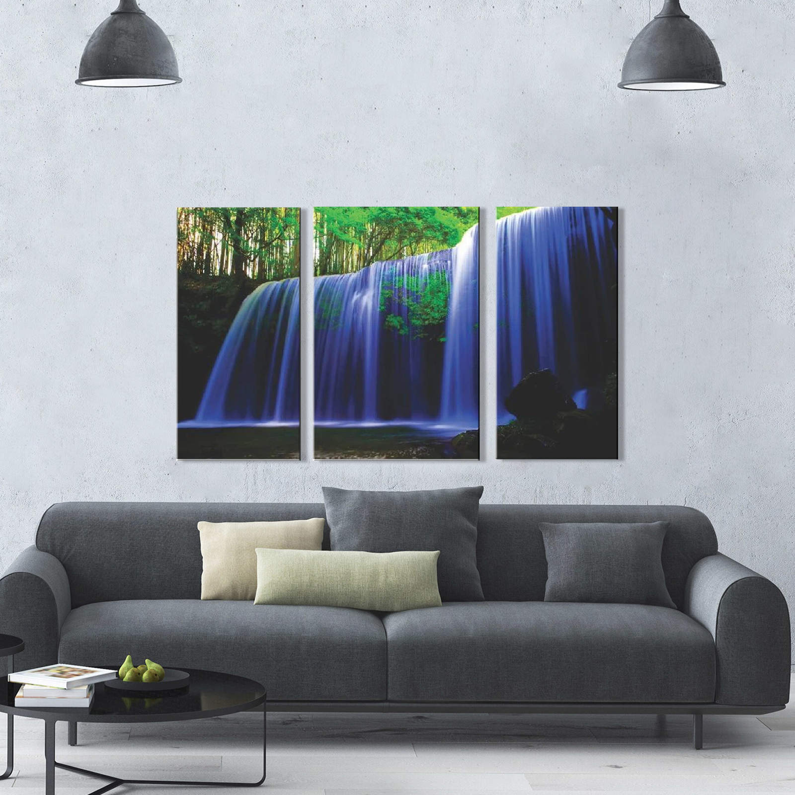 Quadro Decorativo Paisagem Cachoeira colorida 3 peças M2
